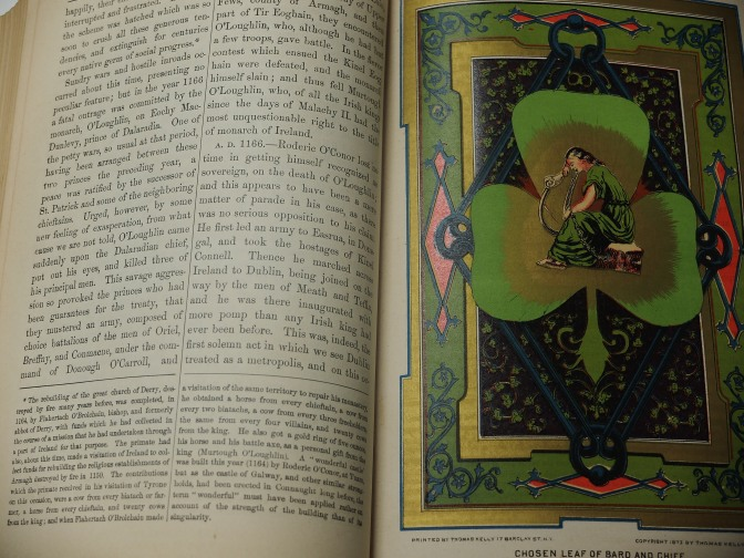 Beautiful illustration of a shamorck and a monk or bard inside a 131 Irish history book