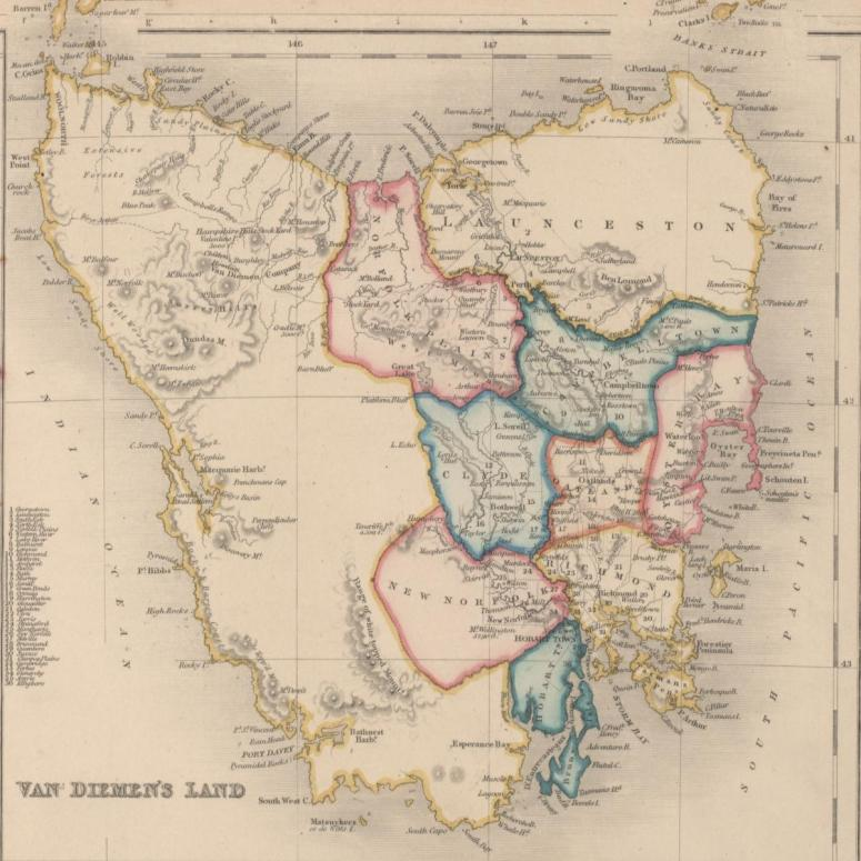 Old map of Tasmania
