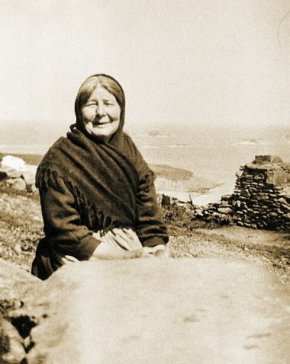 Old woman on island off Ireland