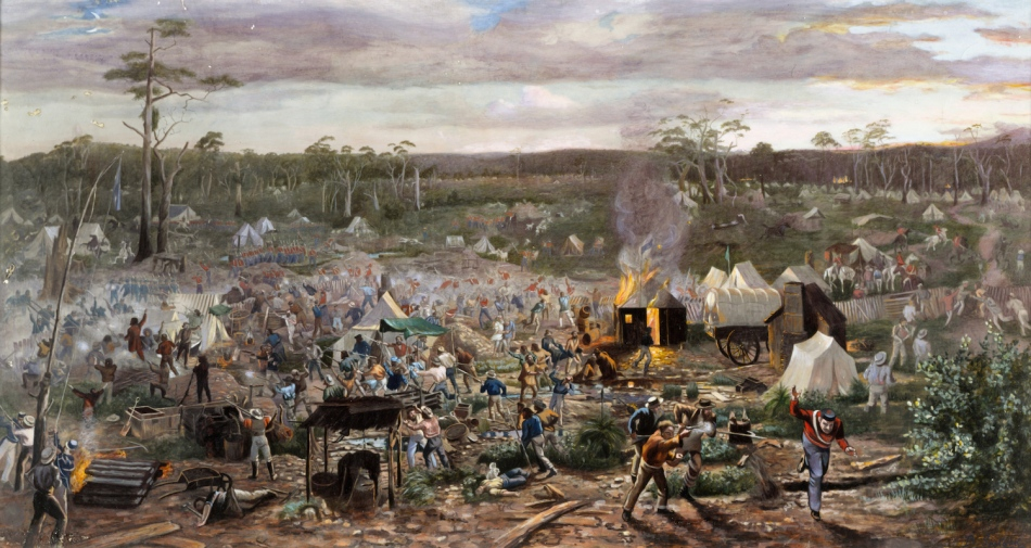 Camp fire scene with tents and armed men